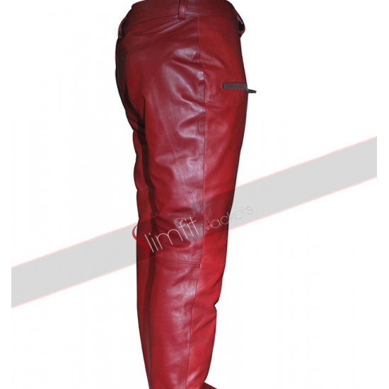 Kylie Jenner Red Skin Faux Leather Pants