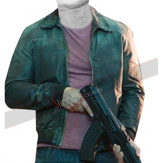 Die Hard 5 Jai Courtney Distressed Bomber Leather Jacket