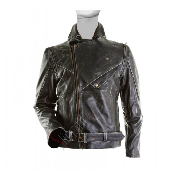 Brando Biker Distressed Black Leather Jacket