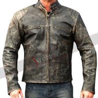 Mens Antique Black Distressed Retro Biker Jacket