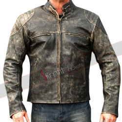 Mens Antique Black Distressed Retro Biker Jacket