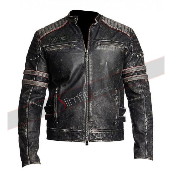 Motorbike MC Vintage Retro Distressed Black Jacket