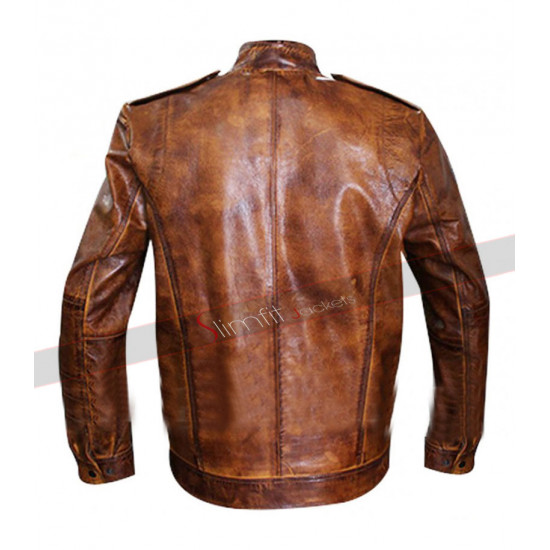 Mens Designer Rider Bronze Leather Jacket