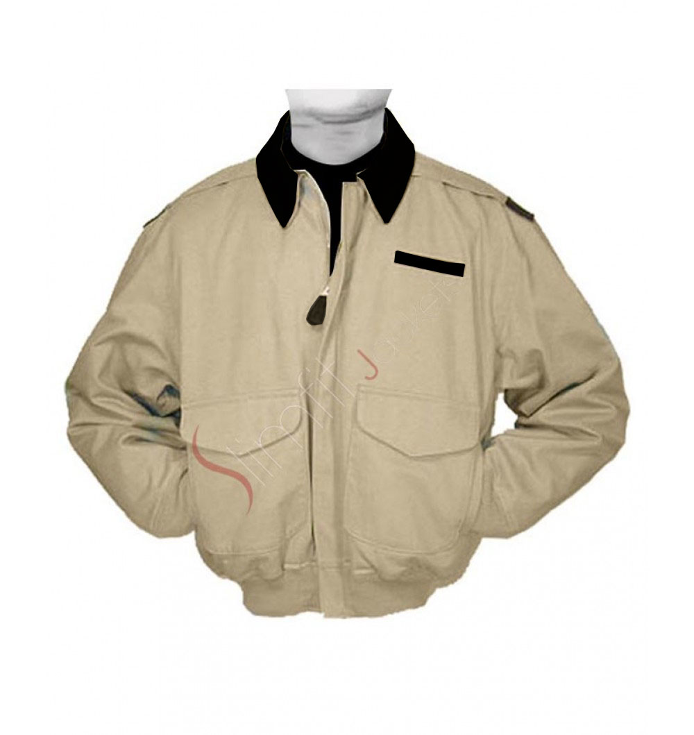 Cotton A2 Flight Cockpit Jacket With Leather Collar