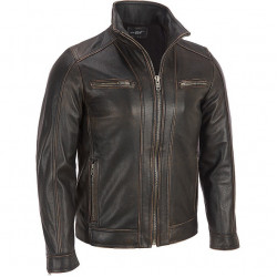 Men's Black Rivet Leather Faded Seam Moto Jacket