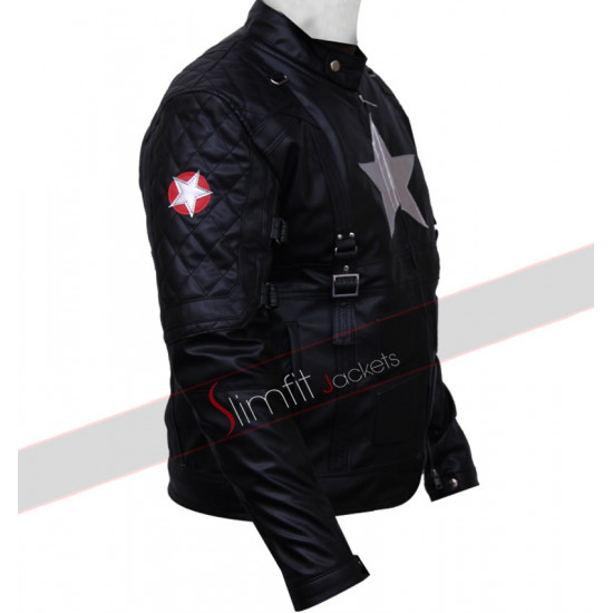 Captain America Chris Evans Black Leather Jacket Costume