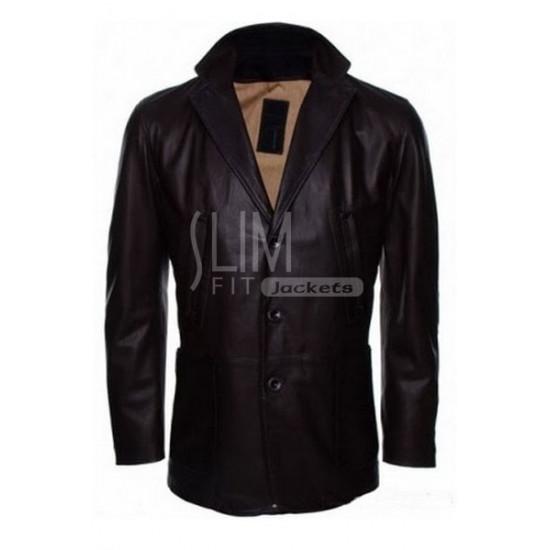 Cowhide Black Genuine Leather Coat
