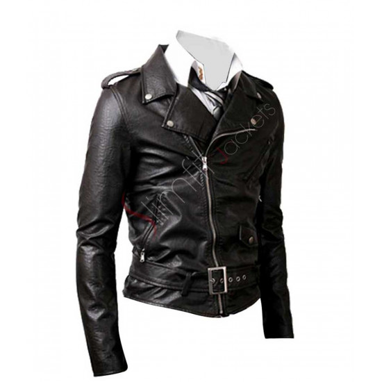 Belted Rider Biker Black Leather Jacket For Men/Women