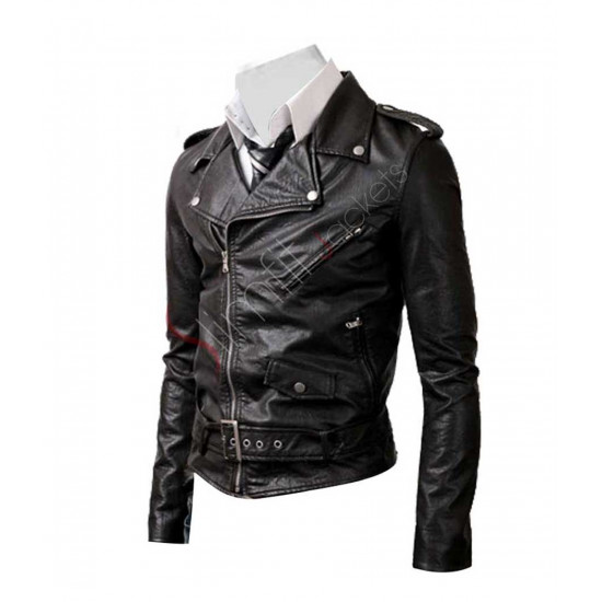 Belted Rider Biker Black Leather Jacket For Men/Women
