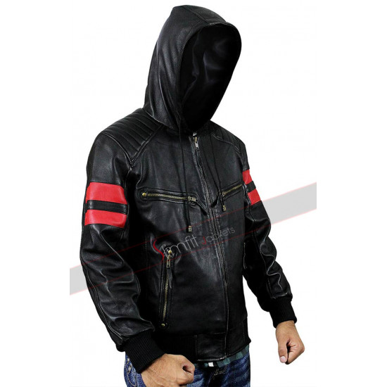 New Mens Black Red Stripes Biker Hooded Leather Baseball Jacket