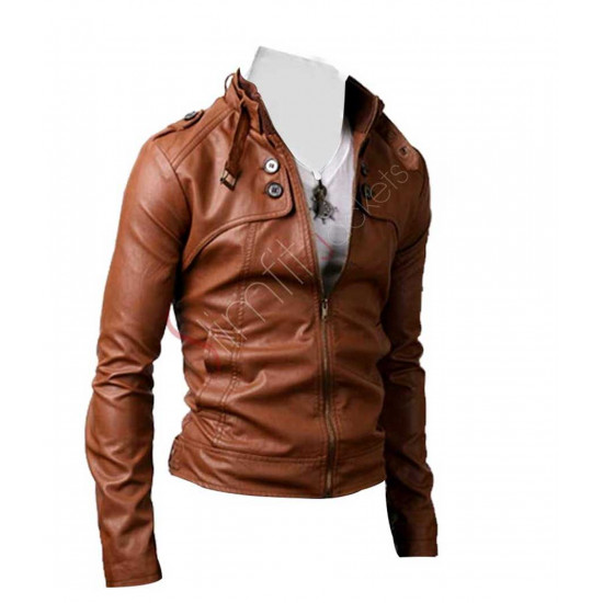Slim Fit Button Pocket Brown Leather Jacket