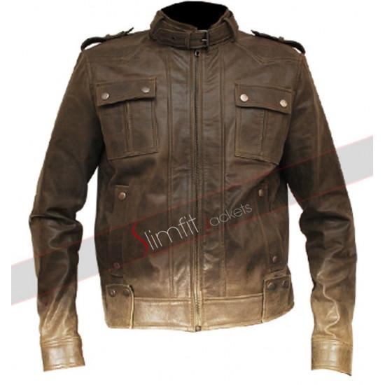 Men's Rider Slim Fit Metallic Moto Green Leather Jacket