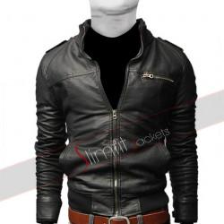 Men's Popular Black Pu Leather Jacket With Straight Zipper