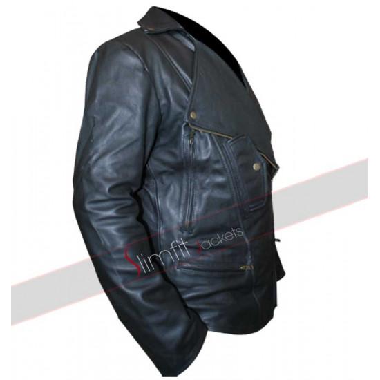 Retro Men's Black Classic Biker Style Leather Jacket