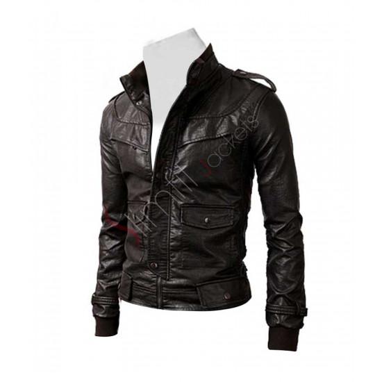 Slim Fit Dark Brown Rocker Genuine Leather Jacket