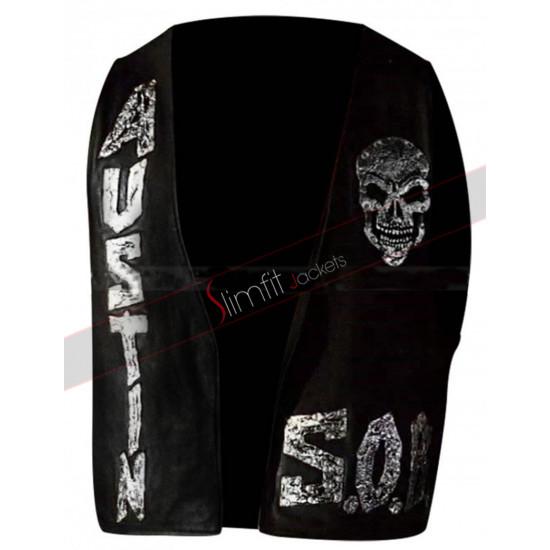 Austin Skull SOB WWE Stone Cold Steve Black Leather Vest