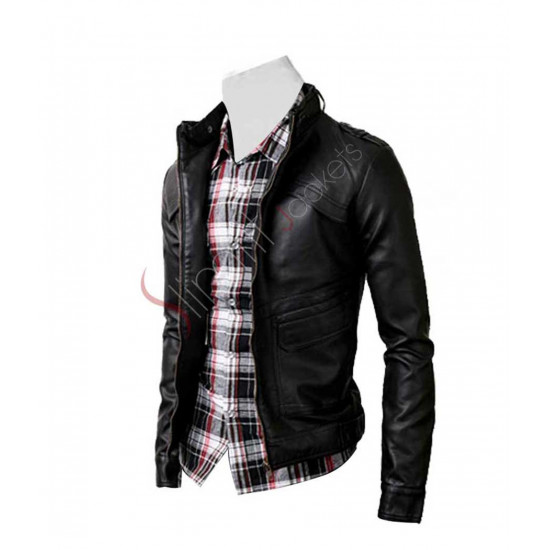 Slim Fit Strap Black Rider Leather Jacket