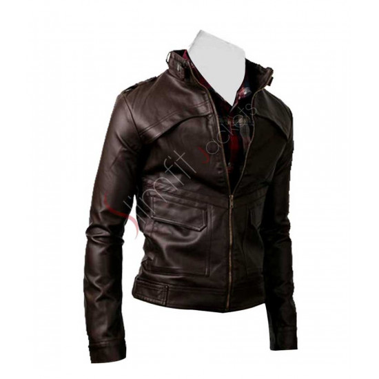 Men's Strap Slim-fit Rider Dark Brown Jacket
