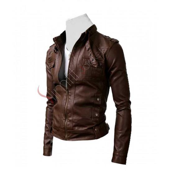 Slim Fit Brown Strap Pocket Rider Leather Jacket