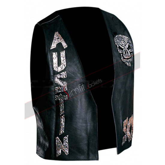 Austin Skull SOB WWE Stone Cold Steve Black Leather Vest