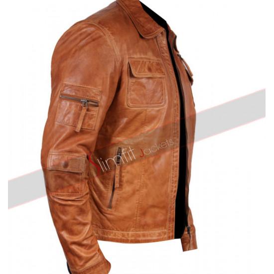 Men's Camel Colored Faux Leather Jacket Sale