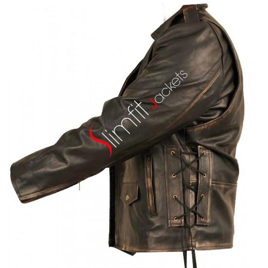 Heavy Duty (Brando) Black Distressed Biker Jacket