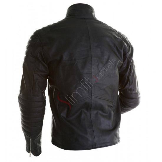 Batman Begins Black Motorcycle Leather Jacket