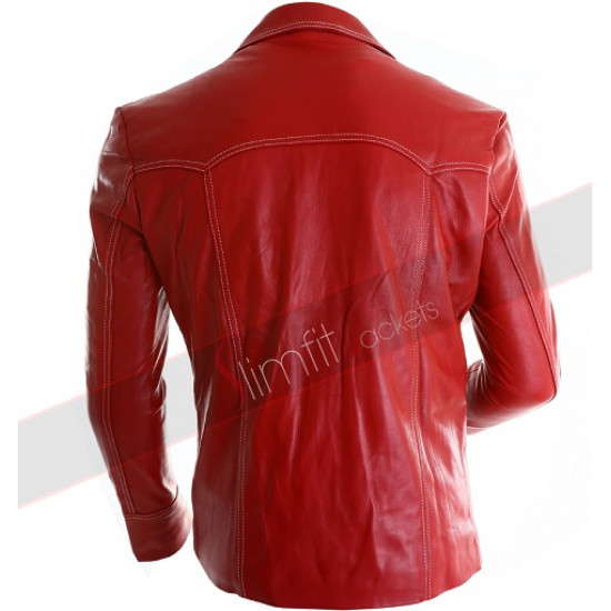 Fight Club Brad Pitt (Tyler Durden) Red Leather Jacket/Coat