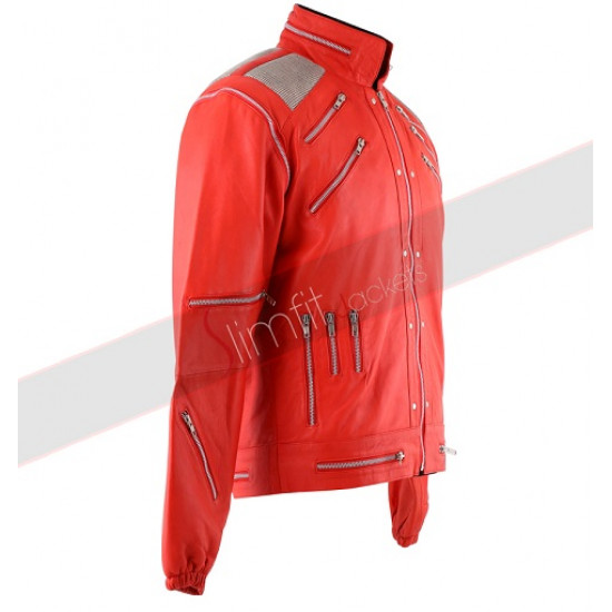 Replica Michael Jackson Beat It Red Leather Jacket