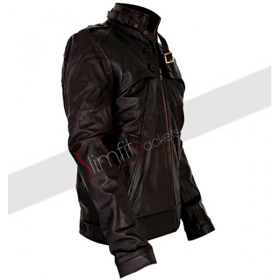Slim Fit Button Pocket Dark Brown Rider Leather Jacket