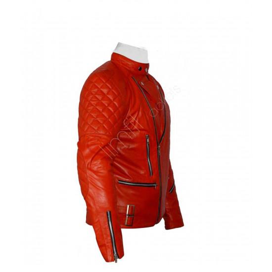 Vintage Brando Style Biker Red Leather Jacket