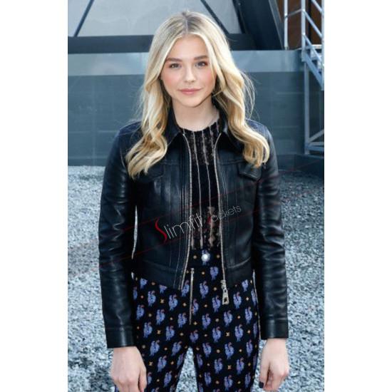 Chloe Grace Moretz Black Leather Biker Jacket