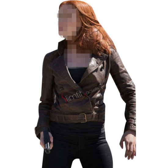 Scarlett Johansson Captain America 2 Black Widow Brown Jacket