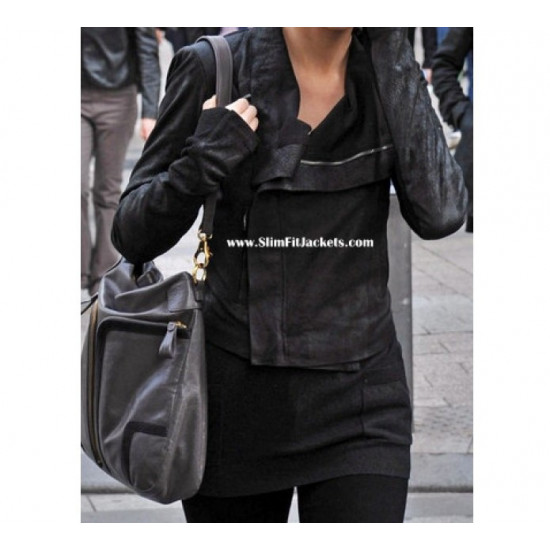 Designers Taylor Swift Rick Owens Black Biker Jacket