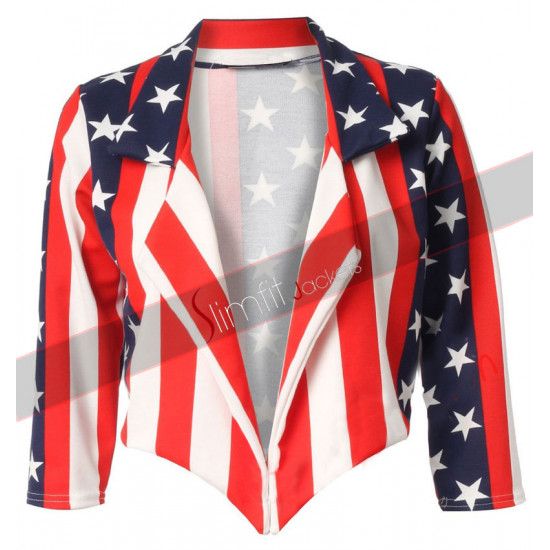 American Flag Ladies Motorcycle Leather Jacket