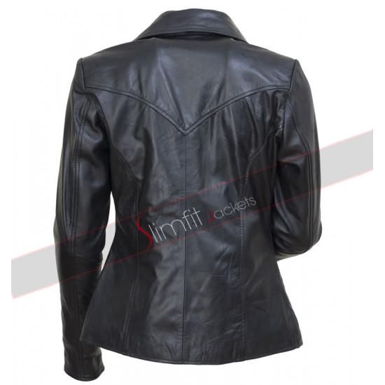 Anne Hathaway Fashion Show Black Biker Jacket for Women