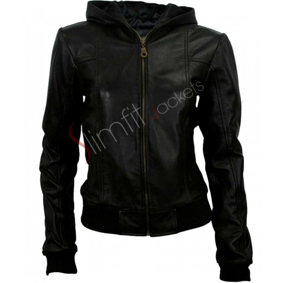 Black Hoodie Style Jacket For Women