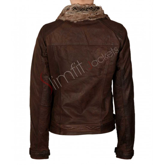 Women's Brown Stylish Faux Fur Collar Leather Jackets