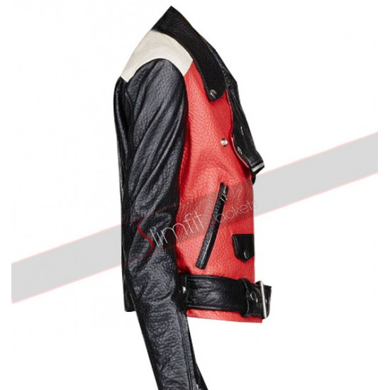 Demi Lovato Acne Studios Red Motorcycle Leather Jacket