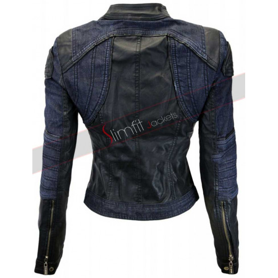 Black Denim Style Leather Jacket