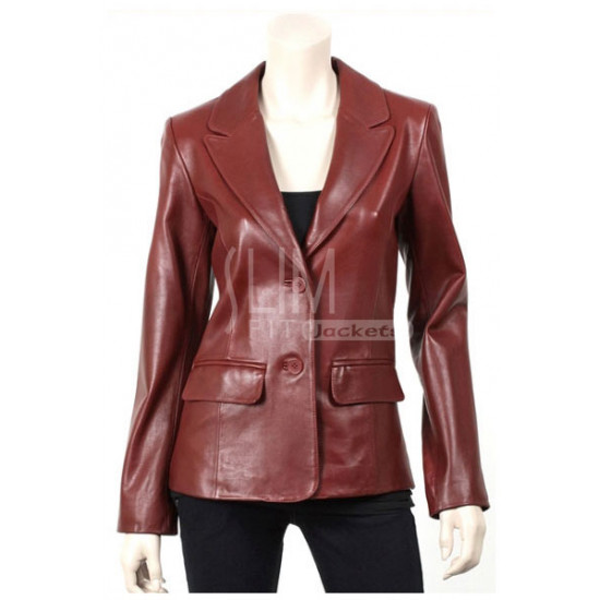 Slim Fit Brown Two Button Genuine Leather Jacket