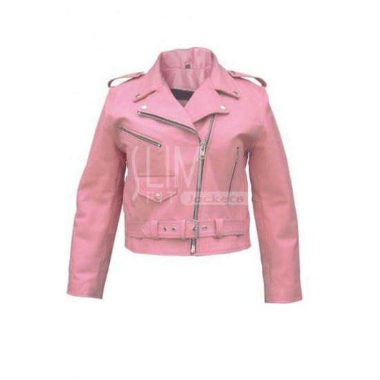 Slim Fit Pink Zipper Genuine Leather Jacket