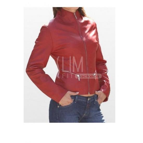 Slim Fit Red Zipper Genuine Leather Jacket