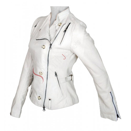 Get Smart: Anne Hathaway (Agent 99) White Motorcycle Jacket