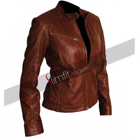 Slim Fit Women Brown Body Fitted Biker Leather Jacket