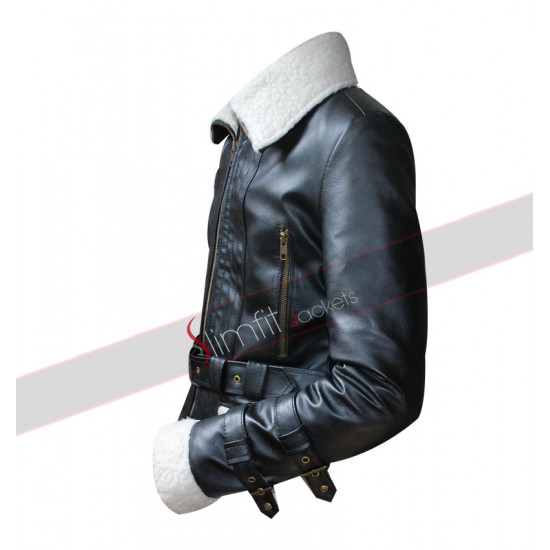 Women's Aviator Shearling Bomber Fur Sheepskin Jacket