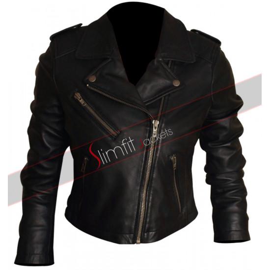 Short Black Biker Jacket For Women
