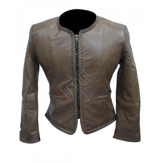 Women Body Fitted Stylish Biker Grey Leather Jacket