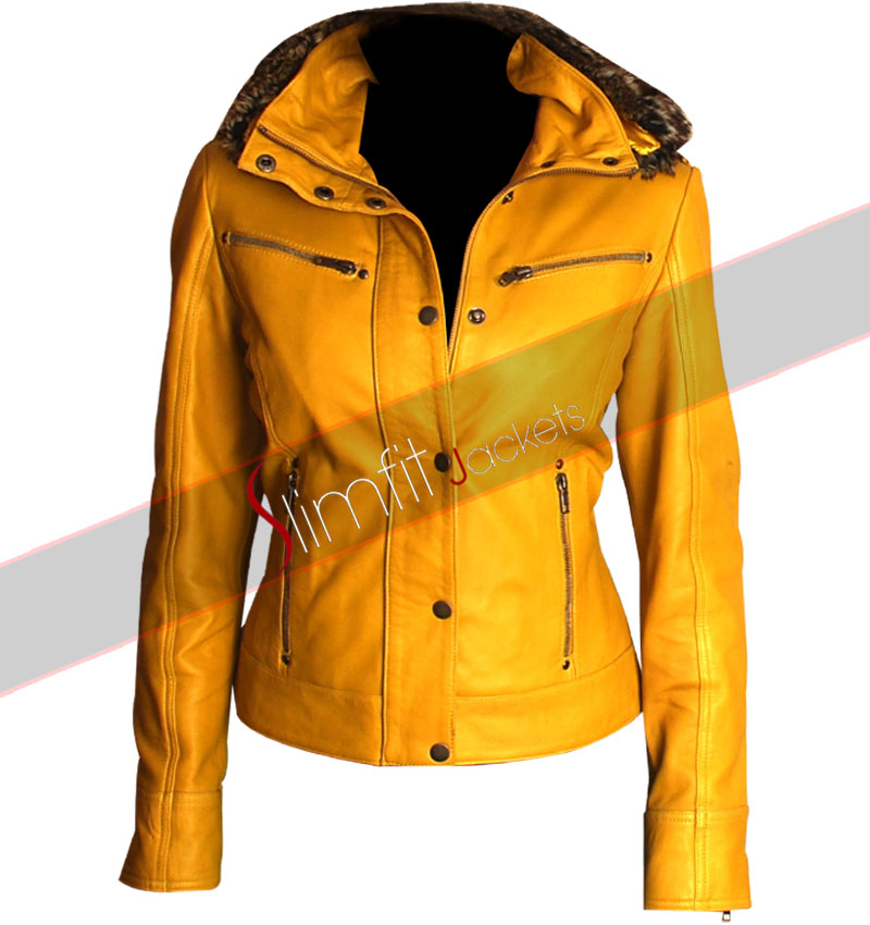 Slim Fit Women S Yellow Hooded Fur Biker Jacket Buy women leather pant black skin slim fit from our online store at discounted and affordable prices. slim fit women s yellow hooded fur biker jacket