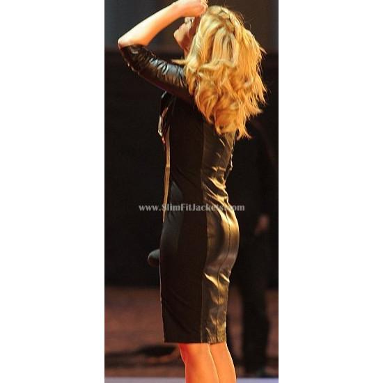 Ashley Roberts Black Leather Dress/Coat